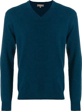 N.Peal Burlington V-neck 1 ply sweater - Blue