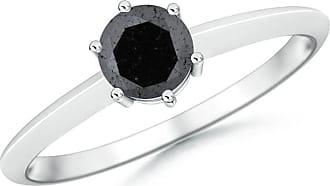 Angara Valentine Day Sale - Prong-Set Enhanced Black Diamond Solitaire Engagement Ring
