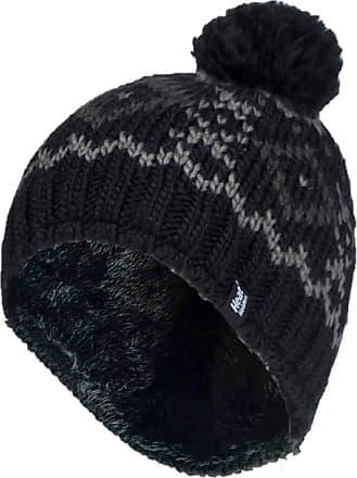 Heat Holders Mens Genuine Patterned HEAT HOLDERS Heatweaver Helsinki Pom Pom Hat - 3 COLOURS (Black - HELSINKI)