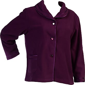 Slenderella Womens Button Up Bed Jacket Anti Pill Polar Fleece Satin Trim Housecoat Small (Purple)