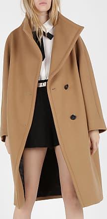 Manteau col rond droit en tweed de coton mélangé MAJE