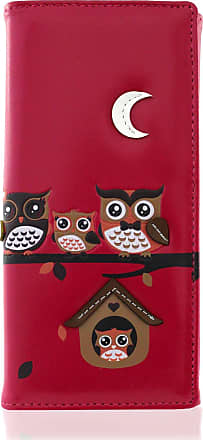 KukuBird Owl Family Tree On Branches Embroidery Patch Pattern Large Ladies Purse Clutch Wallet