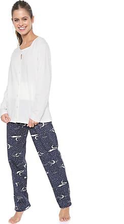 Pzama Pijama Pzama Gestante Estampado Branco/Azul-marinho
