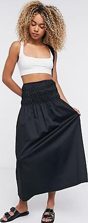 Weekday Maxim shirred waist midi skirt in black