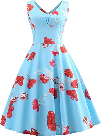 QUINTRA Women Vintage Sleeveless V Neck Evening Printing Party Prom Swing Dress (S, Blue 9498)