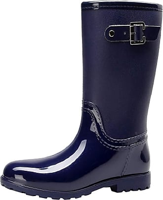 Yvelands Wellington Boots for Women Ladies Casual Waterproof Mid Calf Rain Boots Wide Calf Easy On and Off Slip On Rubber Rain Wellies Snow Shoes Blue