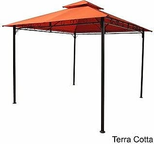 International Caravan Inc St. Kitts 10-Foot Vented Gazebo (Polyester/Fabric/Steel - Terra Cotta - Traditional/Modern & Contemporary)