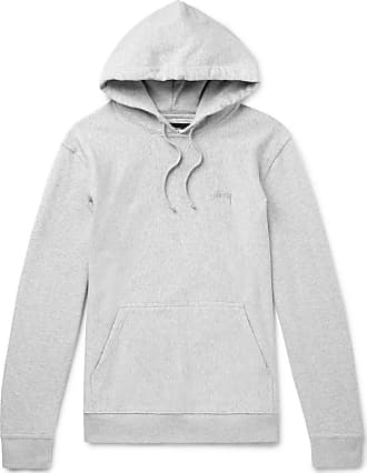 Stüssy Logo-embroidered Mélange Loopback Cotton-jersey Hoodie - Gray