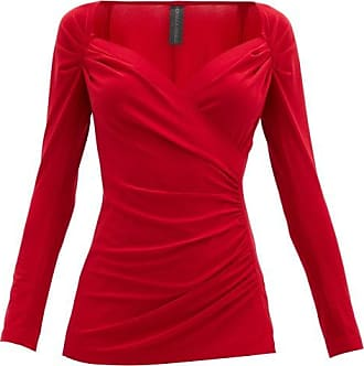 Norma Kamali Queen Anne-neckline Gathered Stretch-jersey Top - Womens - Red