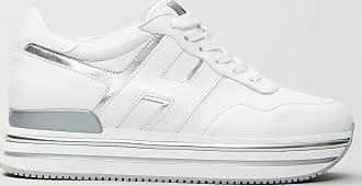 Reposi Calzature Hogan - Midi H222 - Sneakers in pelle bianca e argento