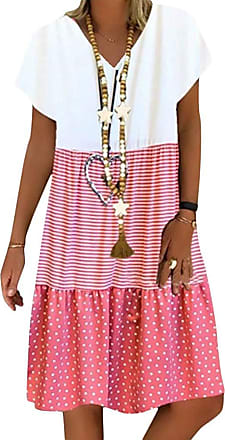 Yidarton Womens Summer Casual V Neck Short Sleeve Dress Loose Patchwork A-Linie Midi Dress (Pink, X-Large)