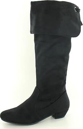 Spot On Ladies Mid Heel High Leg Lace Up BootS F50203 - Black, Size 5 UK