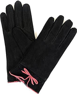 Damen Wildleder-Handschuhe mit Fleece-Futter und Kreuzstich-Design