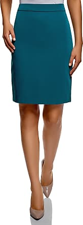 oodji Collection Womens Basic Straight Skirt, Turquoise, UK 12 / EU 42 / L