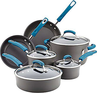 Rachael Ray Hard-Anodized Aluminum Nonstick Cookware Set, 10-Piece, Gray with Marine Blue Handles