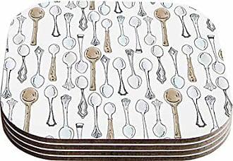 KESS InHouse Stephanie VaethSpoons White Gray Coasters (Set of 4), 4 x 4, Multicolor