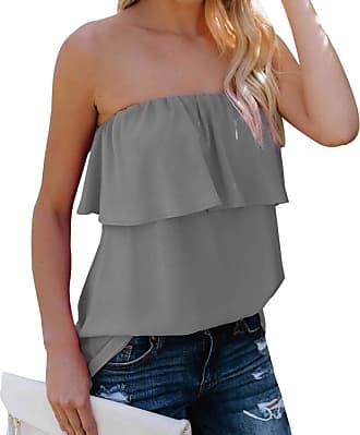YYW Women Summer Casual Sexy Tops Tube Top Chiffon Sleeveless Flowy Blouse Strapless Ruffle Swing Shirt (Gray,Xl)