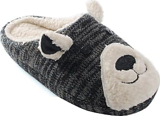 Universal Textiles Womens/Ladies Knit Patterned Animal Teddy Bear Slippers (UK 3/4 EURO 36/37) (Dark Grey)