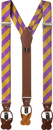 Jacob Alexander Mens College Stripe Y-Back Suspenders Braces Convertible Leather Ends and Clips - Purple Gold