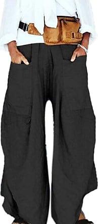 Hellomiko Women Linen Baggy Trousers Baggy Harem Pants Full Length Irregular Bottoms with Large Pockets