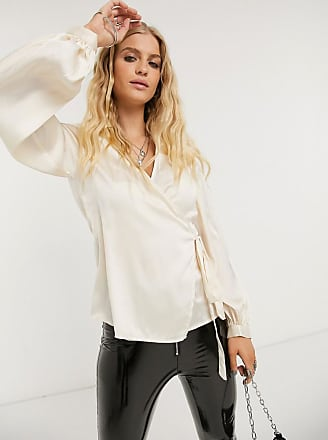 Object satin wrap blouse with volume sleeves in champagne-Pink