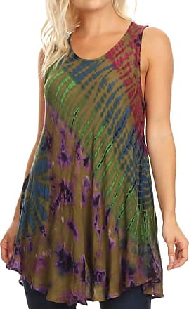 Sakkas 18805 - Natalia Womens Summer Sleeveless Tie Dye Flare Tank Top Tunic Blouse - Olive - OS