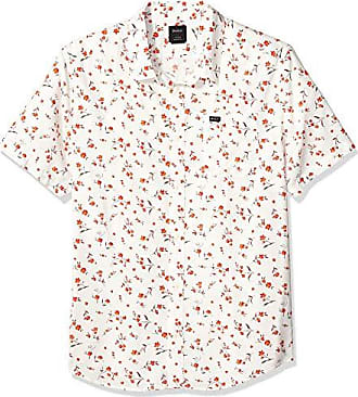 Rvca Mens ELEGIE Floral Short Sleeve Woven Button Front Shirt, Antique/White, XXL