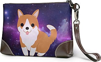 GLGFashion Womens Leather Wristlet Clutch Wallet Corgi Space Storage Purse With Strap Zipper Pouch