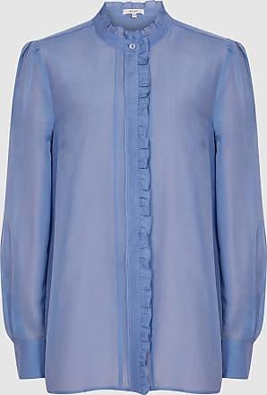 Reiss Liddy - Ruffle Detailed Shirt in Blue, Womens, Size 12