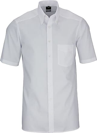 Olymp Olympic Luxor Modern Fit Shirt Half Sleeve Button Down Collar Poplin White - White - 44