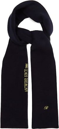Raf Simons Logo And Text-embroidered Wool-blend Scarf - Womens - Dark Navy