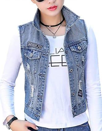 junkai Waistcoat Women Girl Denim Jacket Gilet Distressed Ripped Button Sleeveless Tops Short Jean Vest Blue EU M=Tag L