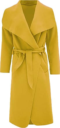 ZEE FASHION Women Italian Long Sleeve Ladies Belted Trench Waterfall Coat Long Jacket Mustard