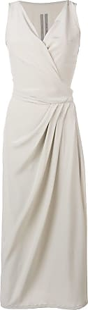 Rick Owens asymmetric wrap front midi dress - Cinza