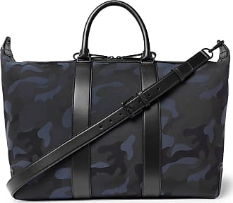 Mulberry Leather-trimmed Camouflage-print Canvas Holdall - Navy d3ef4a543704c