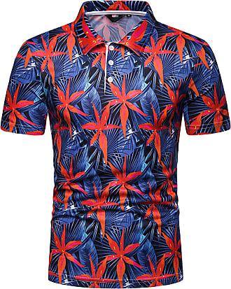 Whatlees Mens Casual Short Sleeve 3D Maple Leaves Print Golf Polo Shirt Stylish T-Shirt 02010038X17+XXL