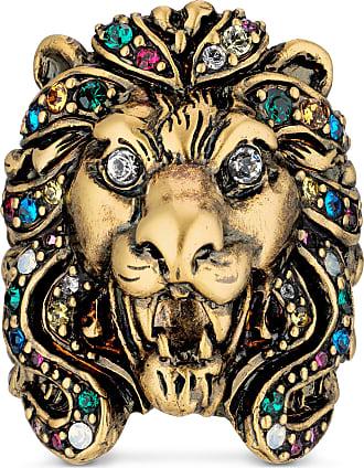 Gucci Anello testa di leone con cristalli