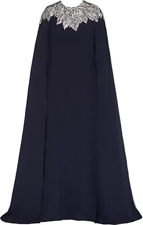 Oscar De La Renta Cape-effect Crystal-embellished Silk Crepe De Chine Gown - Navy