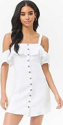 Forever 21 Forever 21 Flounce Linen Button-Front Dress White