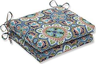 Pillow Perfect Outdoor | Indoor Lagoa Tile Flamingo Squared Corners Seat Cushion (Set of 2), Blue 18.5 X 16 X 3
