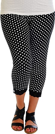 Nouvelle Collection Nouvelle New Womens Leggings Plus Size Ladies Polka Dot Lace Trim Cuff Trousers Nouvelle (Size 32-34, Black)