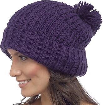Foxbury RJM Ladies Chunky Knit Beanie Hat with Pom Pom Purple