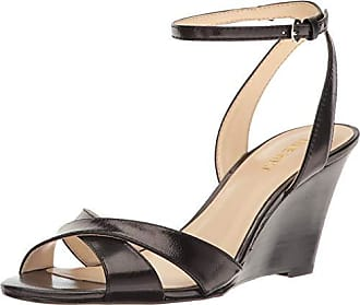 Nine West Womens Kami Leather Wedge Sandal, Black, 7.5 M US