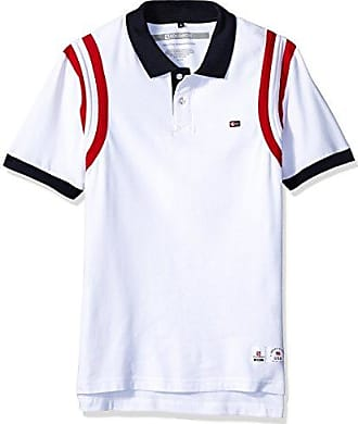 Southpole Mens Short Sleeve Stripe Polo Shirt, White, Small