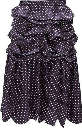 Comme Des Garçons Comme Des Garçons Girl - Tiered Polka-dot Satin Midi Skirt - Womens - Navy White