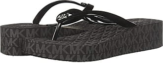 Michael Kors Bedford Flip Flop (Black PVC/Mini Jet Set Print) Womens Toe Open Shoes