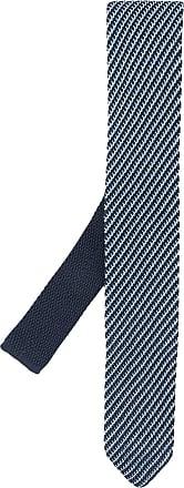 Giorgio Armani Gravata com listras e bordado - Azul