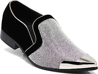 Enzo Jeans Romeo CRT Men Rhinestone Chrome Toe Suede Pointy Dress Loafer Slip On Fashion Shoes Silver Size: 13