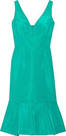 Oscar De La Renta Oscar De La Renta Woman Fluted Cutout Silk-faille Dress Jade Size 10