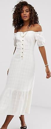 Asos Tall ASOS DESIGN Tall - Schulterfreies, strukturiertes Minikleid mit durchgehender Knöpfung-Weiß